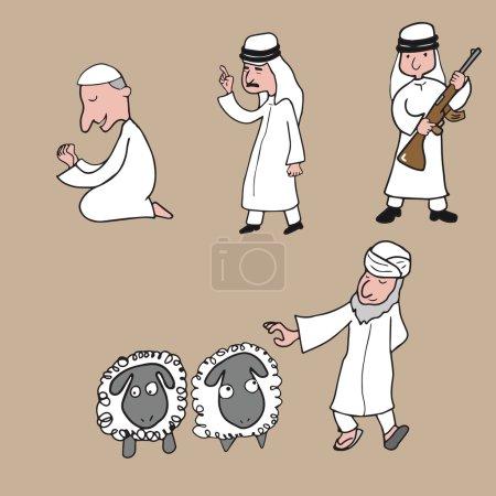 People Character Arabians and sheep cartoon drawin...