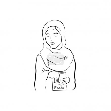 Illustration for Muslim girl and book of peace - Royalty Free Image