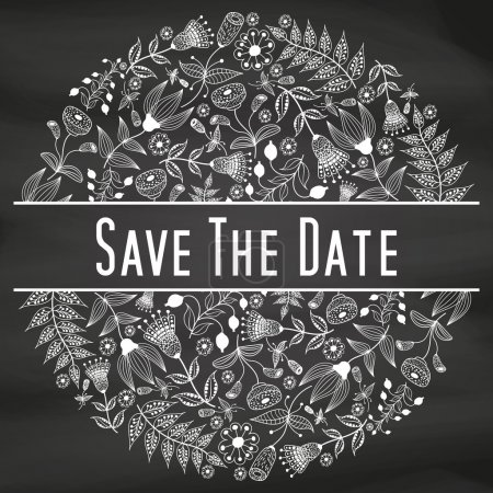 Illustration for Circular floral wreaths, save the date template - Royalty Free Image