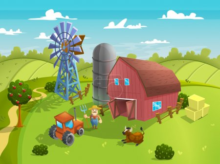 cartoon agriculture farm landscape.