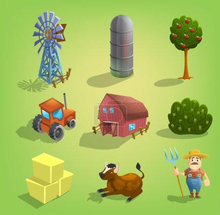 Set of cartoon farm icons.