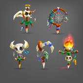 Set of cartoon totems for the game Vector illustration