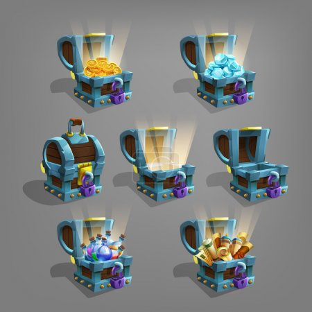 Set of  game treasure in chest.