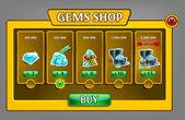 Shop gems panel game asset
