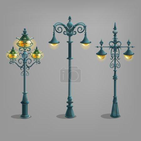Cartoon street lights set