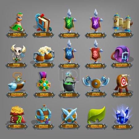 Photo pour Icônes de décoration pour jeux ensemble. Illustration vectorielle . - image libre de droit
