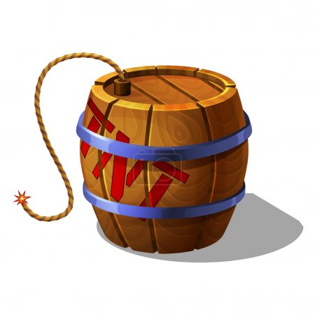 Cartoon barrel of tnt with burning wick for games....