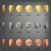 Coin rotation gold copper silver