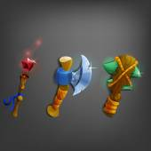 Cartoon weapons for games Vector illustration