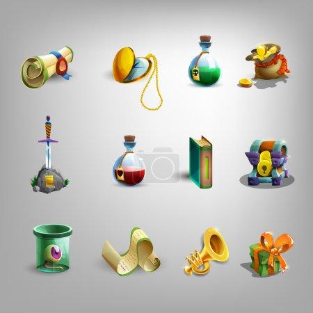 Photo pour Icônes de dessin animé de décoration pour les jeux. Illustration vectorielle . - image libre de droit