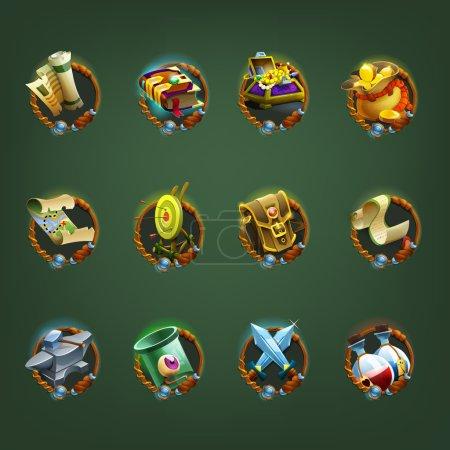 Illustration pour Icônes de décoration pour les jeux. collection de symboles de dessin animé. Illustration vectorielle . - image libre de droit