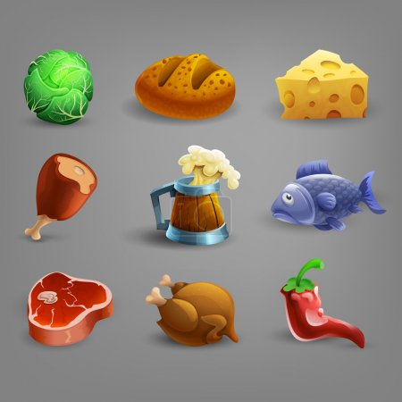 Food and drink cartoon icons.