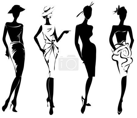 Illustration pour Modèles de mode rétro noir et blanc dans le style croquis. Illustration vectorielle dessinée main - image libre de droit