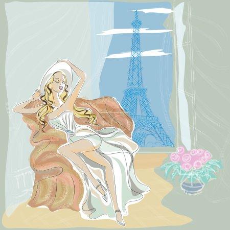Fashion girl in Paris hotel near Eiffel Towe