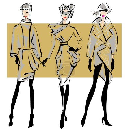 Illustration pour Modèles de mode dans le style croquis automne hiver. Illustration vectorielle dessinée main - image libre de droit