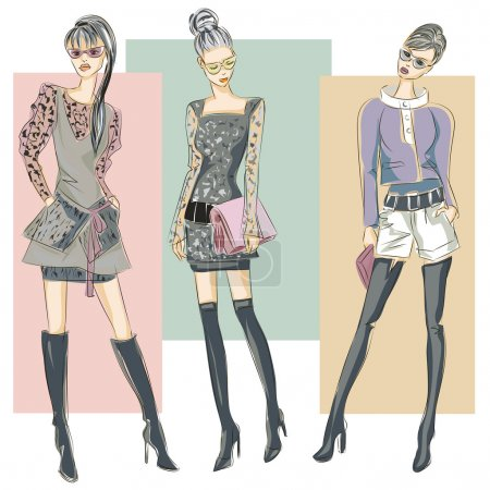 Illustration for Fashion models in sketch style fall winter. Hand drawn vector illustration - Royalty Free Image