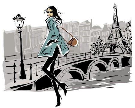 Illustration pour Modèles de mode dans le style croquis automne hiver avec fond de ville de Paris. Illustration vectorielle dessinée main - image libre de droit