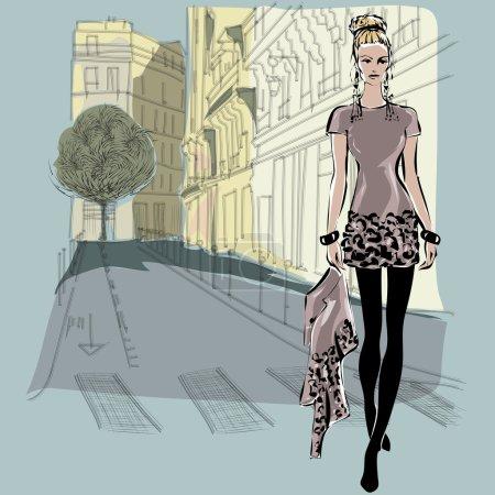Illustration pour Modèles de mode en style croquis avec fond de ville de Paris. Illustration vectorielle dessinée main - image libre de droit
