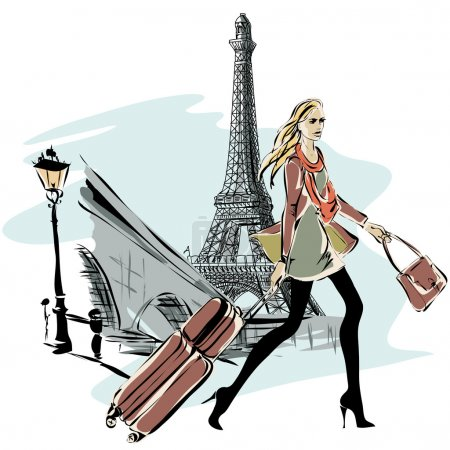 Illustration pour Modèles de mode avec bagages dans le style croquis et fond de ville de Paris. Illustration vectorielle dessinée main - image libre de droit