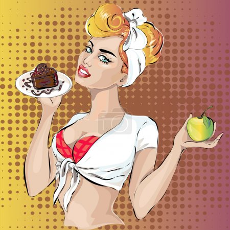 Pin-up fitness woman with cake dessert and apple