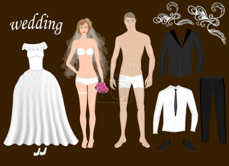 Paper dolls bride and groom. Body template