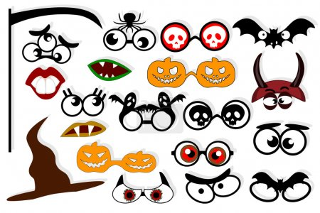 Halloween. Design elements for party props. Photo booth props template for zombie party.