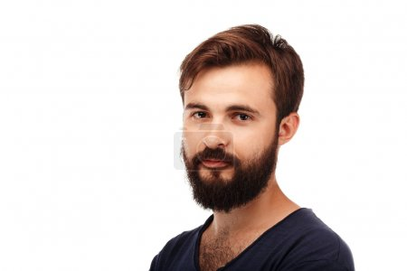 Portrait of a young bearded man isolated on white background
