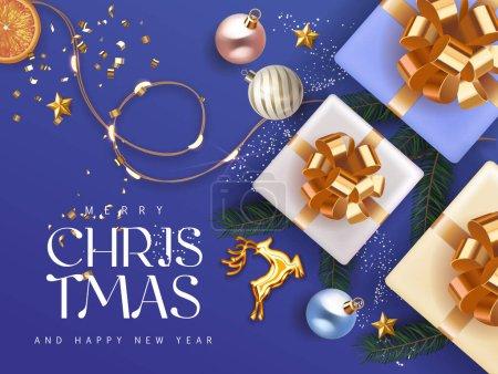 Joyeux Noël et Bonne Année 2021 bleu profond cyan Fond de vacances avec des boîtes-cadeaux avec des branches de sapin ruban d'or boules de Noël cerf d'or et lumières. Décoration de Noël festive en bleu