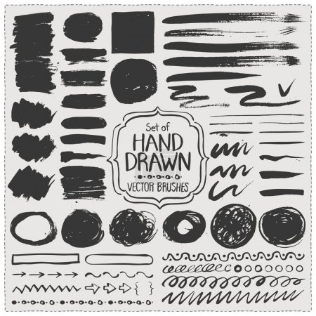 Set of hand drawn vector brushes. Grunge brush strokes.