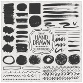 Set of hand drawn vector brushes Grunge brush strokes