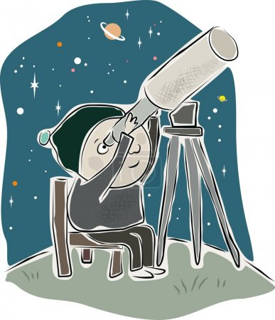 Illustration for A young child gazes in awe through a telescope. - Royalty Free Image