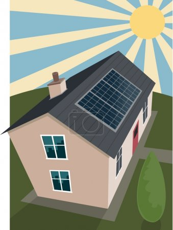 Illustration pour Les panneaux solaires absorbent la puissance du soleil sur un toit typique . - image libre de droit