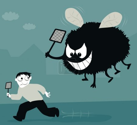 Illustration for A huge house fly with a large swatter get his revenge. - Royalty Free Image