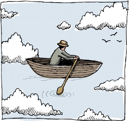 Illustration for A whimsical graphic of a figure rowing a boat through the sky. - Royalty Free Image