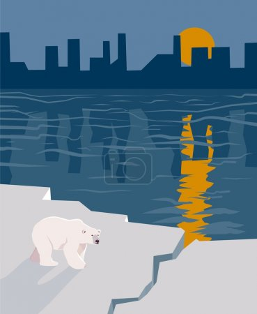 Illustration for A single polar bear stands on a dwindling ice flow with a city in the background. - Royalty Free Image