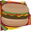 An illustration of a typical large hamburger or ch...