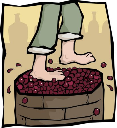 Treading grapes
