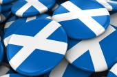 Pile of Scottish Flag Badges - Flag of Scotland Buttons piled on top of each other