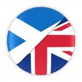 Scottish and British Relations - Badge Flag of Scotland and UK 3D Illustration