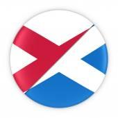 Northern Irish and Scottish Relations - Badge Flag of Northern Ireland and Scotland 3D Illustration
