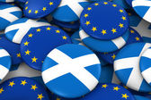 Scotland and Europe Badges Background - Pile of Scottish and European Flag Buttons 3D Illustration