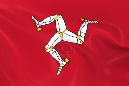 Waving Flag of the Isle of Man - 3D Render of the Manx Flag with Silky Texture