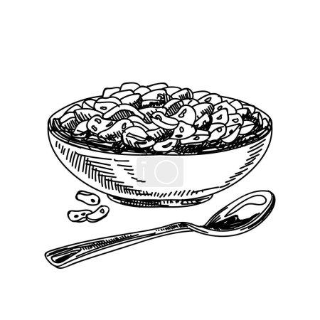 Cornflakes hand drawn black and white vector illustration