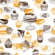 Vector seamless patten with party pastry and sweet...