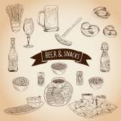 Hand drawn vector illustration Beer and snacks set