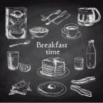 Vector breakfast hand drawn set. Vintage illustrat...