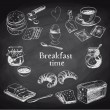 Vector breakfast hand drawn set. Vintage illustrat...