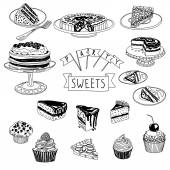 Vector hand drawn set with cakes and sweets Sweets illustration colletion