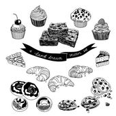 Vector hand drawn set with cakes and sweets