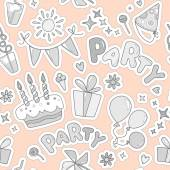 Neutral colorful cheerful cute seamless pattern on the theme of children's parties Balloons cake with candles ice cream sweets gifts flowers hearts sparkles cups on a pale